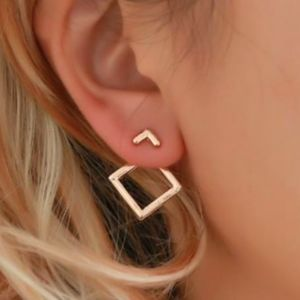 Jewelry - Geometric Square Minimalist Peekaboo Earrings